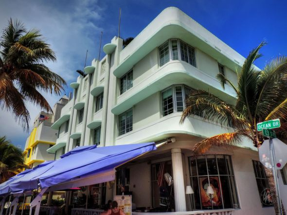 The Carlyle is one of the many historic, restored boutique hotels on Ocean Drive in the Deco Distirict of South Beach in Miami.