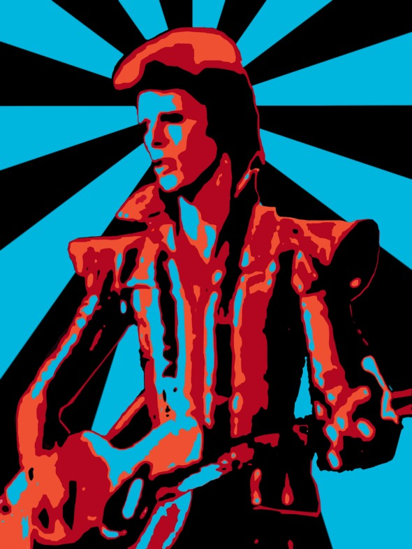 """Now Ziggy played guitar Jamming good with weird and gilly And the Spiders from Mars He played it left hand But made it too far Became the special man Then we were Ziggy's band""                                                                           -David Bowie   This is a digital portrait of David Bowie as the alien rock 'n' roll messiah, Ziggy Stardust."